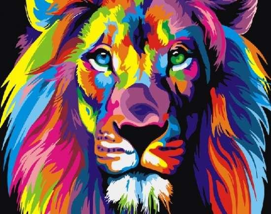 Картина по номерам 40x50 Радужный царь-лев. Ваю Ромдони