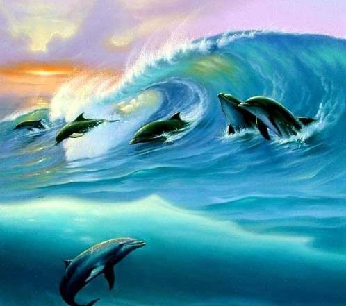 Картина по номерам 40x50 Стая дельфинов на волне