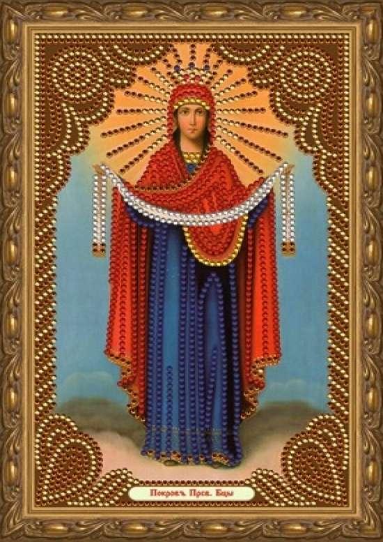 Алмазная мозаика 20x30 Покров Пресвятой Богородицы