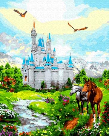 Картина по номерам 40x50 Лошади у замка с голубой крышей